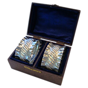 SALE Two Beautiful .925 Sterling Silver Napkin Rings in Leather Covered Box ~JW & CO ~ ...