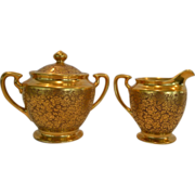 SALE Elegant Gold Embossed Porcelain Creamer and Sugar Set ~ Hand Painted with AOG Rose and Da