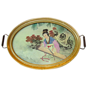 "SALE Beautiful 17"" Tray with Painting on Silk of Japanese Woman in Kimono playing a Koto"