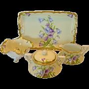 SALE Gorgeous Bavarian Porcelain Creamer, Sugar, Bon Bon Bowl and Tray Set ~ Hand Painted ...