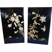 "SALE Two stunning 14"" High, Japanese Lacquer panels  ~ Birds & Bamboo ~ Early 1900's"