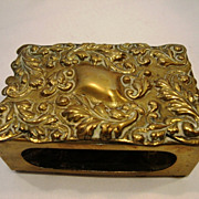SALE Fabulous Victorian Bronze Match Box Holder ~ Hand Crafted with Repousse Design ~ Townshen