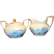 SALE Beautiful Creamer & Sugar Set ~ German Porcelain ~ Hand painted with Blue Forget Me Nots