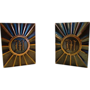 SALE Nice Copper/Bronze Bookends with Monogrammed `M' ~ Attributed to Hyde Park by LE Mason Co