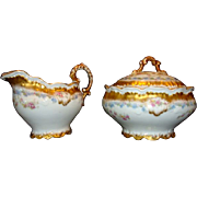 SALE Ornate Limoges Porcelain Creamer And Sugar ~ Blue and Pink Flowers ~ Lewis Strauss ...