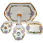 SALE Fantastic 8 Piece Dresser Set~1909. Tray, 2 Lidded Boxes, Hair Receiver, Hat Pin ...