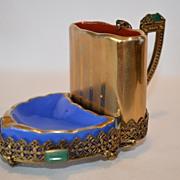 SALE Rare 3 Piece smoking set  / business card holder ~ 10K Gold Filigree / Green Jewels~ C. T