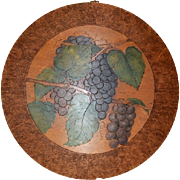 SALE Neat Hand Painted Pyrography (Flemish)  Art of Beautiful Purple Grapes on Round Plaque ~