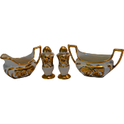 SALE China Condiment Set ~ Creamer / Sugar / Salt & Pepper ~ Hand Painted with Gold Orchids ..