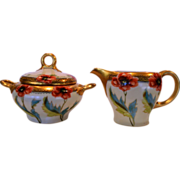 SALE Wonderful Porcelain Creamer & Sugar Set ~ Hand painted with Poppies ~ artist Initialed EM