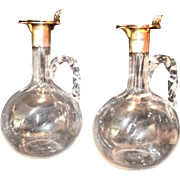 SALE 2 ~ Wonderful Hand Blown Decanters Set with Sterling Silver Spout and Lid ~ ...