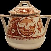 SALE Wonderful  Reddish Brown English Aesthetic Covered 1 LB Sugar Jar ~ Phileau Pattern ~ Sho