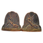 SALE Classic Set of Copper bookends with Cupid and Psyche ~ attributed to Connecticut Foundry