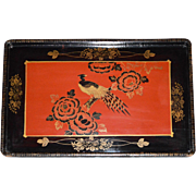 SALE Japanese Black & Red Lacquer Tray with handles ~ Beautiful Pheasant Bird and Flowers ...