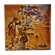 SALE Amazing Majolica Tile in a Deep Brown Color Glaze ~ Impressed Relief Image of ...