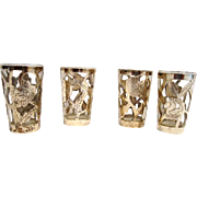 SALE 4 Nice Sterling Silver Overlay on Glass ~ Cordials or Shot Glasses ~ .925 MEXICO