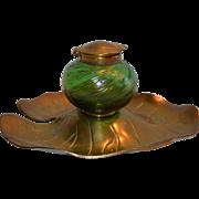 SALE Glass & Brass Inkwell ~ Iridescent Green ~ Bohemian / Czech~ Art Nouveau Lily Pad Design