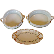 SALE Haviland Limoges (3) piece Serving Set (Bowls & Relish Dish)  ~ Beautifully Hand ...