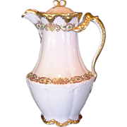 SALE Unique Limoges Porcelain Chocolate Pot ~ Factory Decorated ~ Split Ornate Gold Handle ~ .
