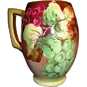 SALE Beautiful Bavarian Porcelain Mug / Stein Hand Painted with Purple and Green Grapes ~ ...