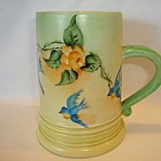 SALE Beautiful Woman's Limoges Porcelain Mug ~ Hand Painted with Yellow Roses and Blue Birds