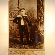 SALE Wonderful Cabinet Card of Boy and Dog ~ Anna, IL 1890's