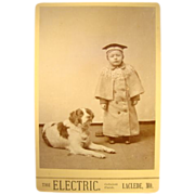 SALE Wonderful Cabinet Card of Boy and Dog~ The Electric. ~ Laclede, MO 1880's