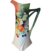 """SALE Exquisite Limoges Porcelain 15 ¼"""" Tall Ewer / Pitcher / Tankard ~ Hand painted with .."""