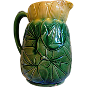 SALE Awesome English Majolica ~ Pond Lily Pitcher  ~ Attributed to J Holdcroft late 1870 - 188