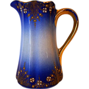 SALE Fantastic French Faience Pitcher / Creamer ~ Cobalt with Colored Enamel ~ Keller & Guerin