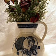 """SALE Awesome 10"""" English Porcelain Water Pitcher ~ Cobalt transfers of Japanese Fans & Prunu"""