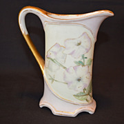 SALE Great  Pitcher ~ Limoges Porcelain ~ Hand Painted with Lavender and white Petunias ~ ...
