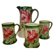 Colorful Pitcher and 3 Mugs ~ French Majolica / Faience ~Pink Roses ~ Keller & Guerin, France