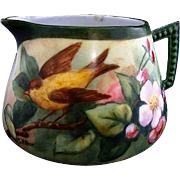 SALE One of a Kind Porcelain Lemonade / Cider Pitcher ~ Hand Painted with a Pair of Goldfinch