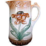 SALE Majolica Pitcher ~ Raised Tulip Design