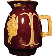 SALE Majolica Pitcher ~ Brown English Glaze ~ Decorated with Goddess Appliques ~ Josiah ...