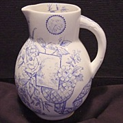 SALE Wonderful 133 Year Old English Blue and White Aesthetic Transferware Pitcher ~ Lyons ...