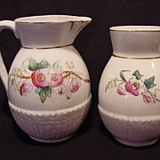 SALE Wonderful Ironstone Pitcher and Toothbrush Holder Decorated with Flowers ~ William Brunt