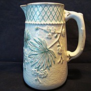 SALE Wonderful Old Faience / Majolica Pitcher ~ Teal Flowers with Gold Accents ~ Balt Avalon .