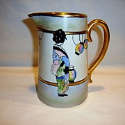 SALE Lovely Limoges Porcelain Pitcher / Creamer ~ Hand Painted with Geisha Girl in Kimono with