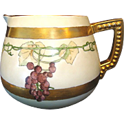 SALE Beautiful Art Nouveau Lemonade / Cider Pitcher ~ Hand Painted with Grapes ~ Artist Signed