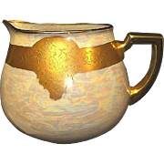 SALE Beautiful Bavarian Porcelain Lemonade / Cider Pitcher ~ Hand Painted with Gold Embossed .