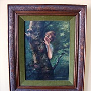 SALE Delightful Oil on Canvas of Girl by Tree ~ by  Astrid F Okerlund  (1939)