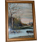 SALE Framed Watercolor of Stream and Church ~ Artist E Willard Late 1800's –Early 1900's