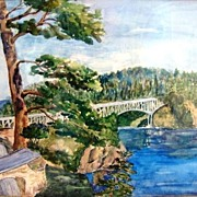 "SALE Fantastic Ink and Watercolor of ""Deception Pass"" in Anacortes Washington by Clara Els"