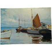"SALE Wonderful Dutch Nautical Scene Hand Painted Oil on Canvas 37"" L x 26 1/2"" W by"