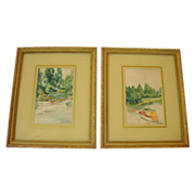 SALE 2 Wonderful Hand Painted Framed Watercolors of Boats in an Outlet ~ By OL Hatley July 193