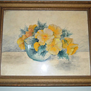 SALE Amazing Original Watercolor of Yellow Poppies in Bowl Framed and Under Glass