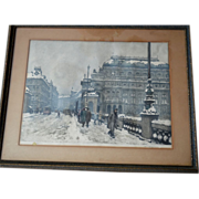 "SALE Narodni Divadlo (National Theater) In Winter ~ Signed Color Etching 20.5"" Framed und"