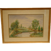 SALE Water Color of Landscape with Tree and Stream – Signed GS Wickham 1958